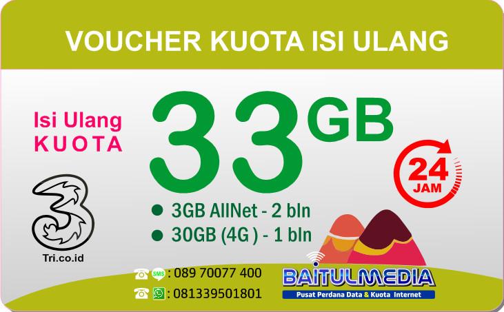 Voucher Lte Tri kuota Besar 33 GB