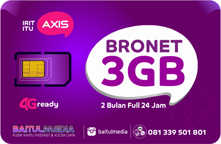 Paket Internet Axis Bronet Kuota 3GB