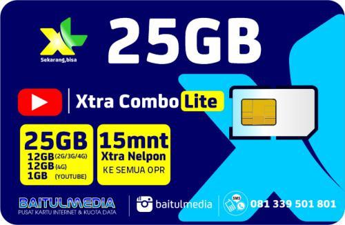 Paket Internet XL Combo Xtra Lite Kuota Besar 25 GB