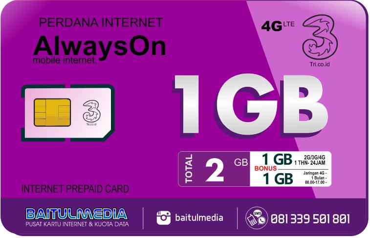 Perdana Internet Tri Aon 1 GB Aktif 1 Tahun