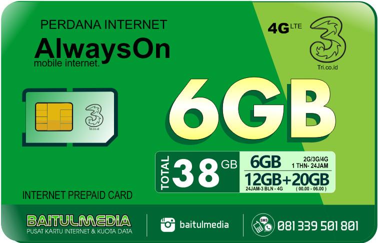 Perdana Internet Tri Aon 6 GB Aktif 1 Tahun