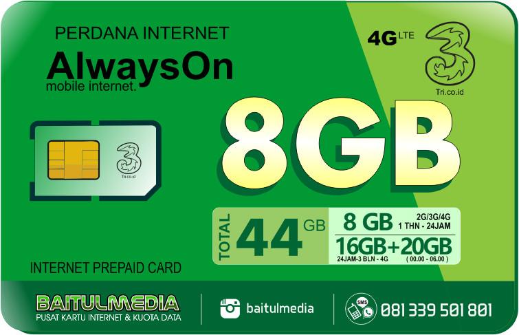 Perdana Internet Tri Aon 8 GB Aktif 1 Tahun