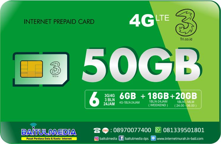 Paket Internet Tri LTE Kuota 50GB