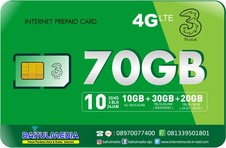 Paket Internet Tri LTE Kuota 70 GB