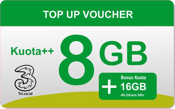 Voucher Kuota Isi Ulang Tri 8GB