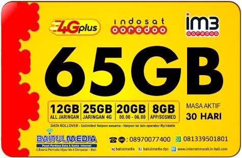 Indosat IM3 Ooredoo Kuota Besar 65 GB